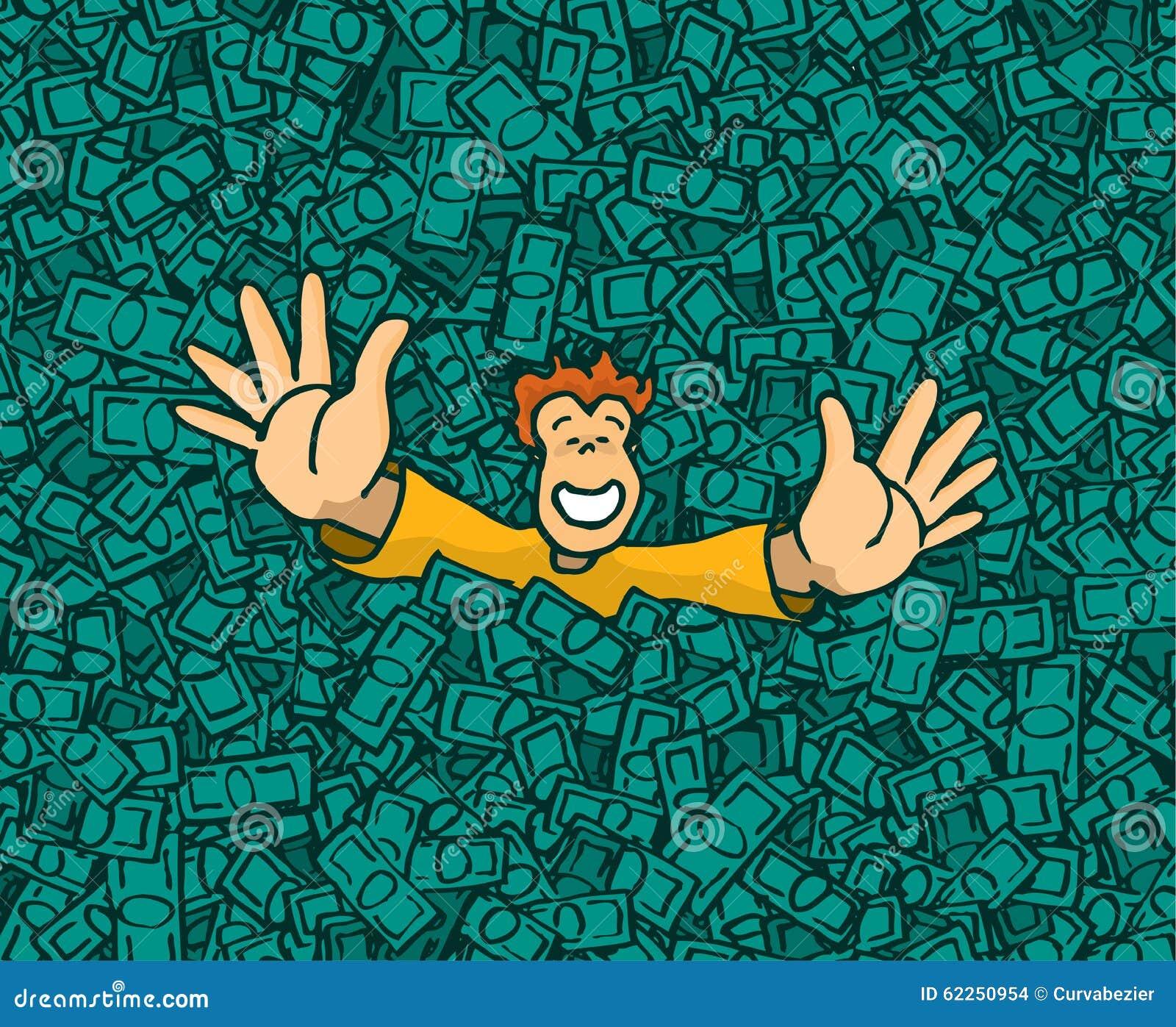 happy successful man swimming in money pool stock vector