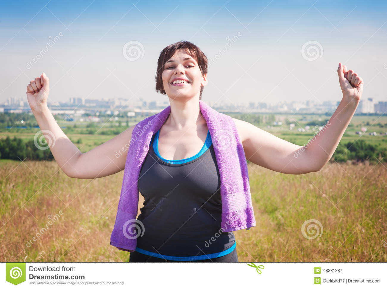 Happy Successful Plus Size Woman Raising Arms To The Sky ...
