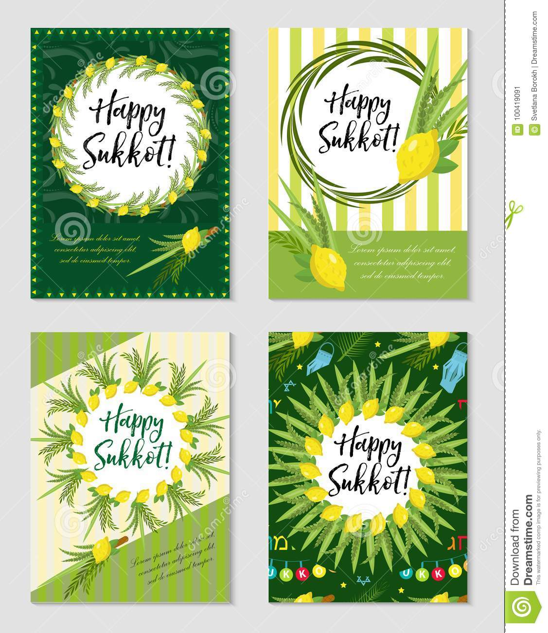Happy Sukkot Set Of Flyers Or Posters Sukkot Collection Of