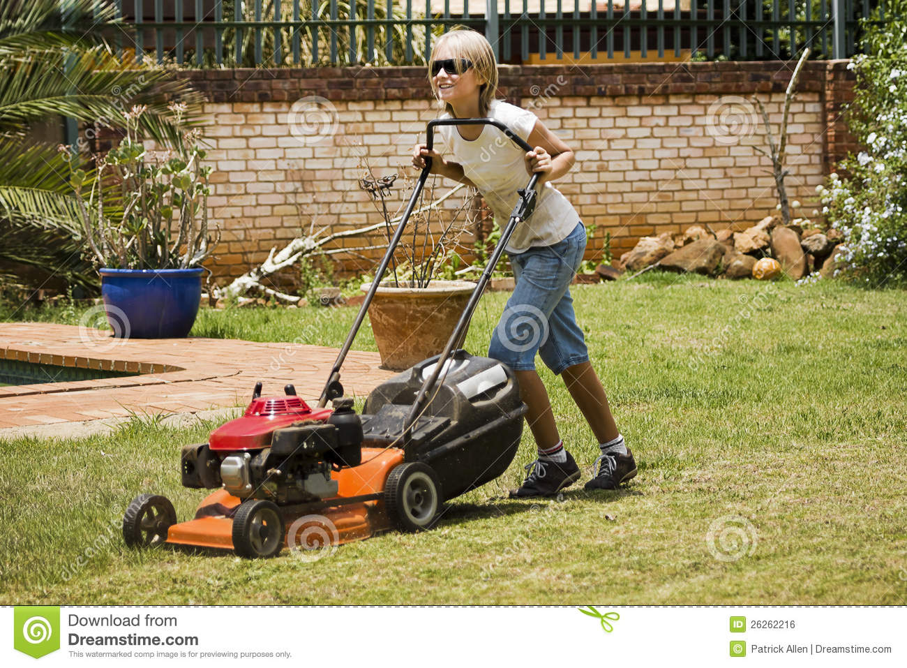 happy summer chores mowing lawn royalty free stock image