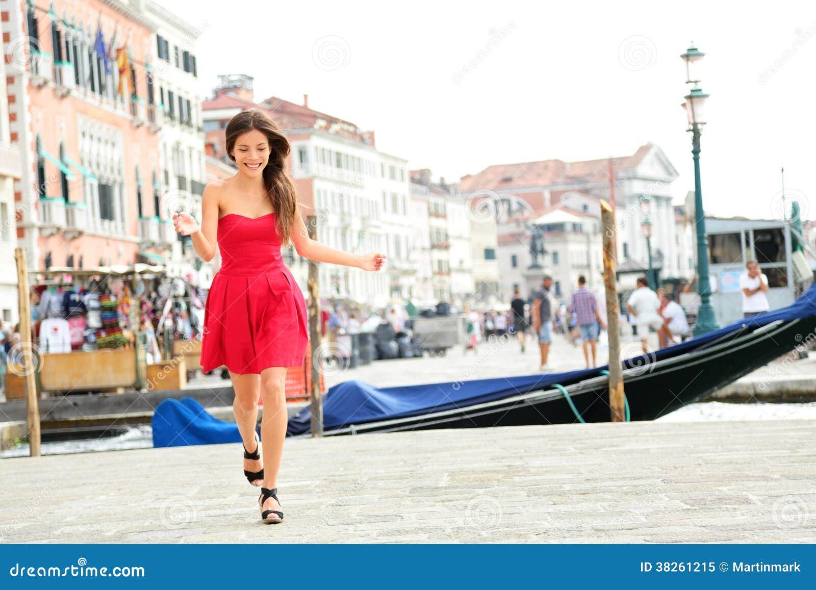 Happy Summer Girl Running In Dress Venice Italy Royalty