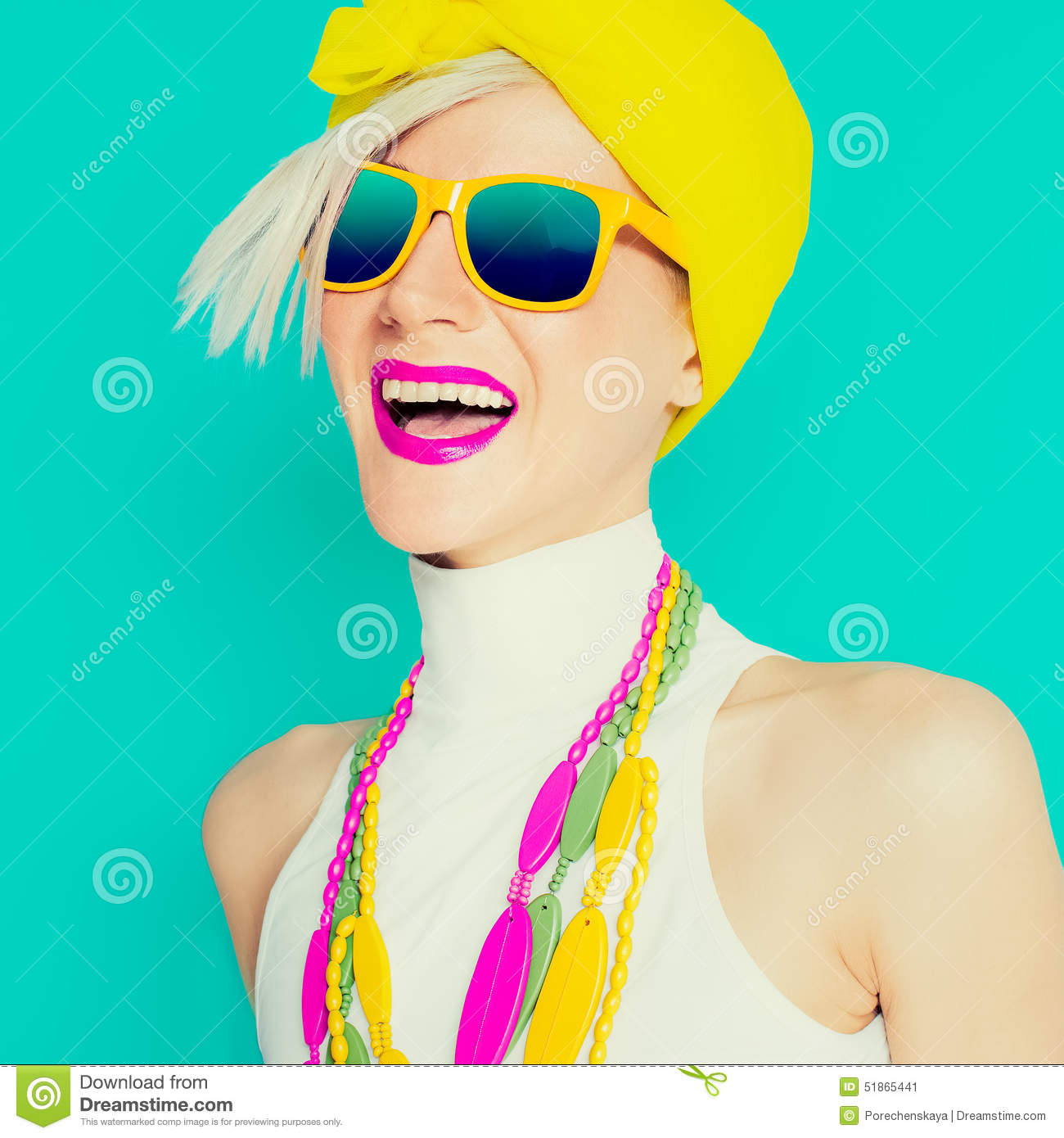 Happy summer girl in trendy bright accessories