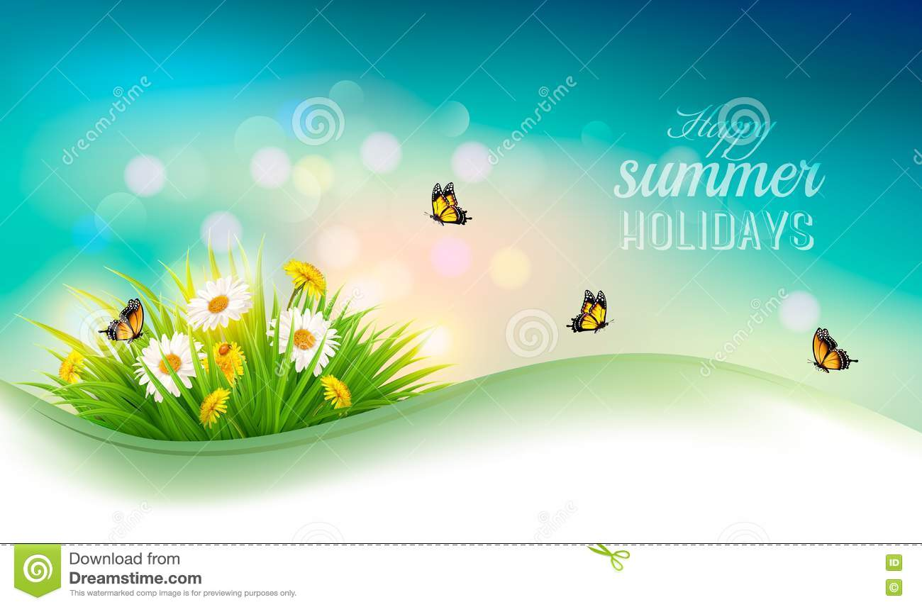 Happy Summer Holidays Background Vector: Happy Summer Holidays Background With Flowers, Grass Stock