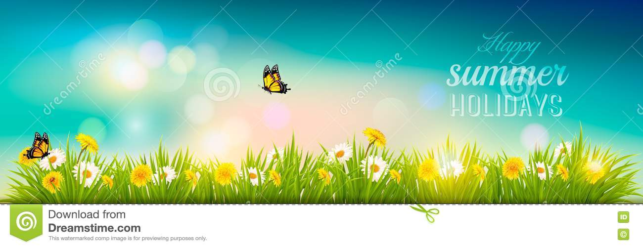 Happy Summer Holidays Background Vector: Happy Summer Holidays Banner With Flowers, Grass And