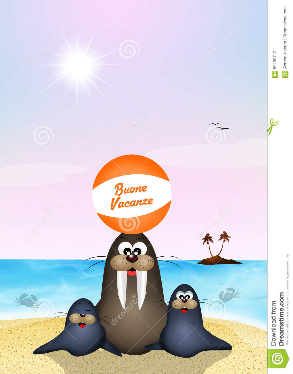Happy Summer Holidays Stock Illustration Of Walrus