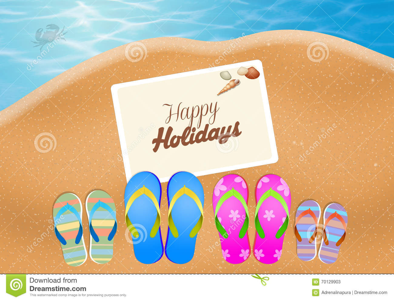 Happy Summer Holidays Stock Illustration Image Of Sand