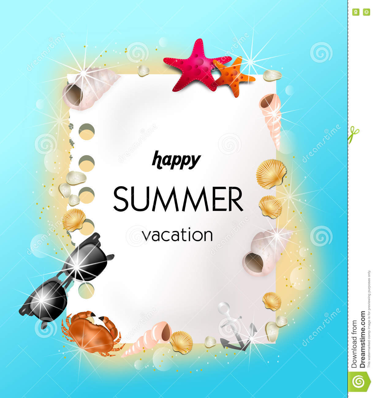 Happy Summer Vacation Stock Illustration Of Beautiful