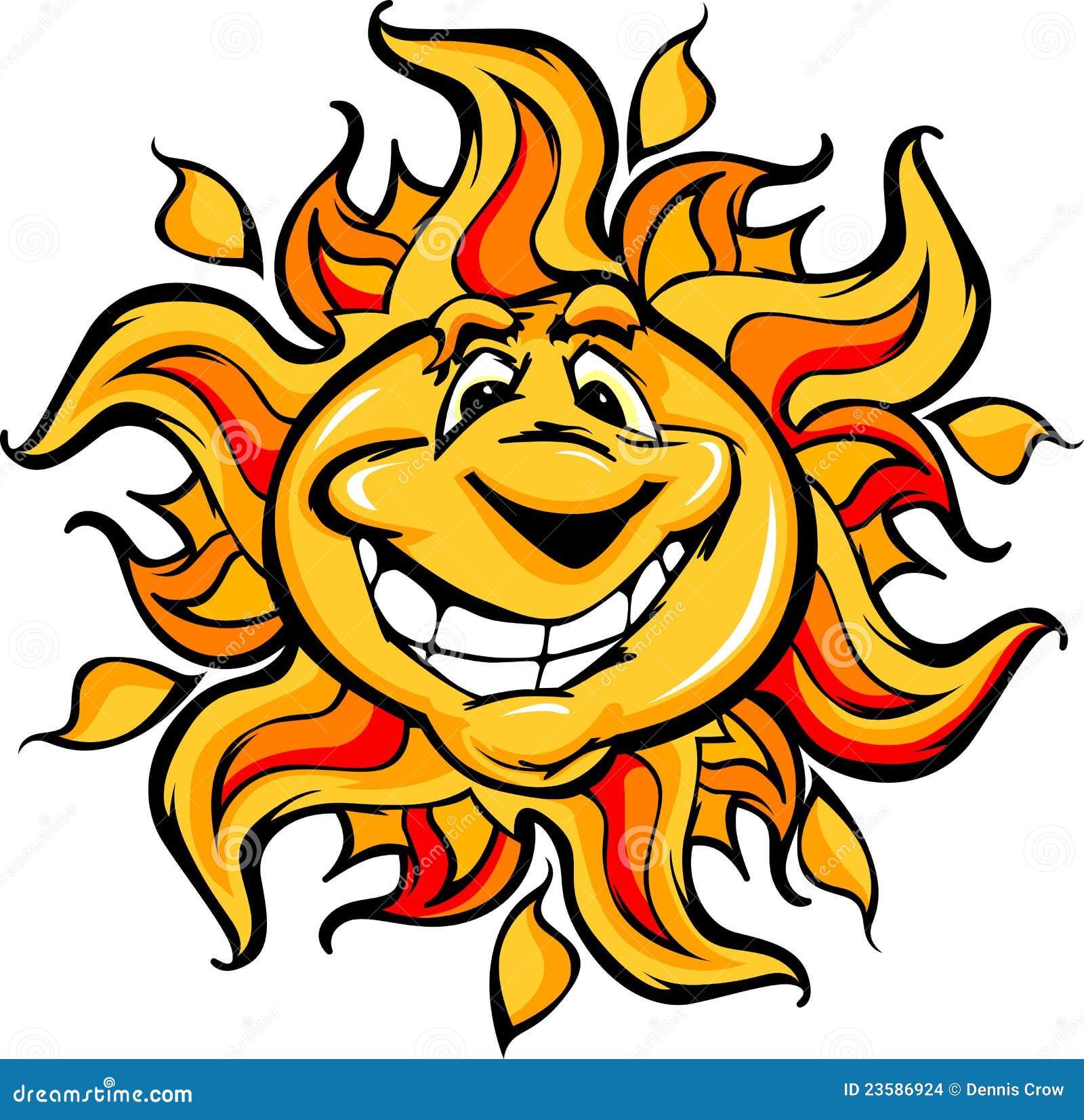 Happy Sun Cartoon with a Big Big Cartoon Smile