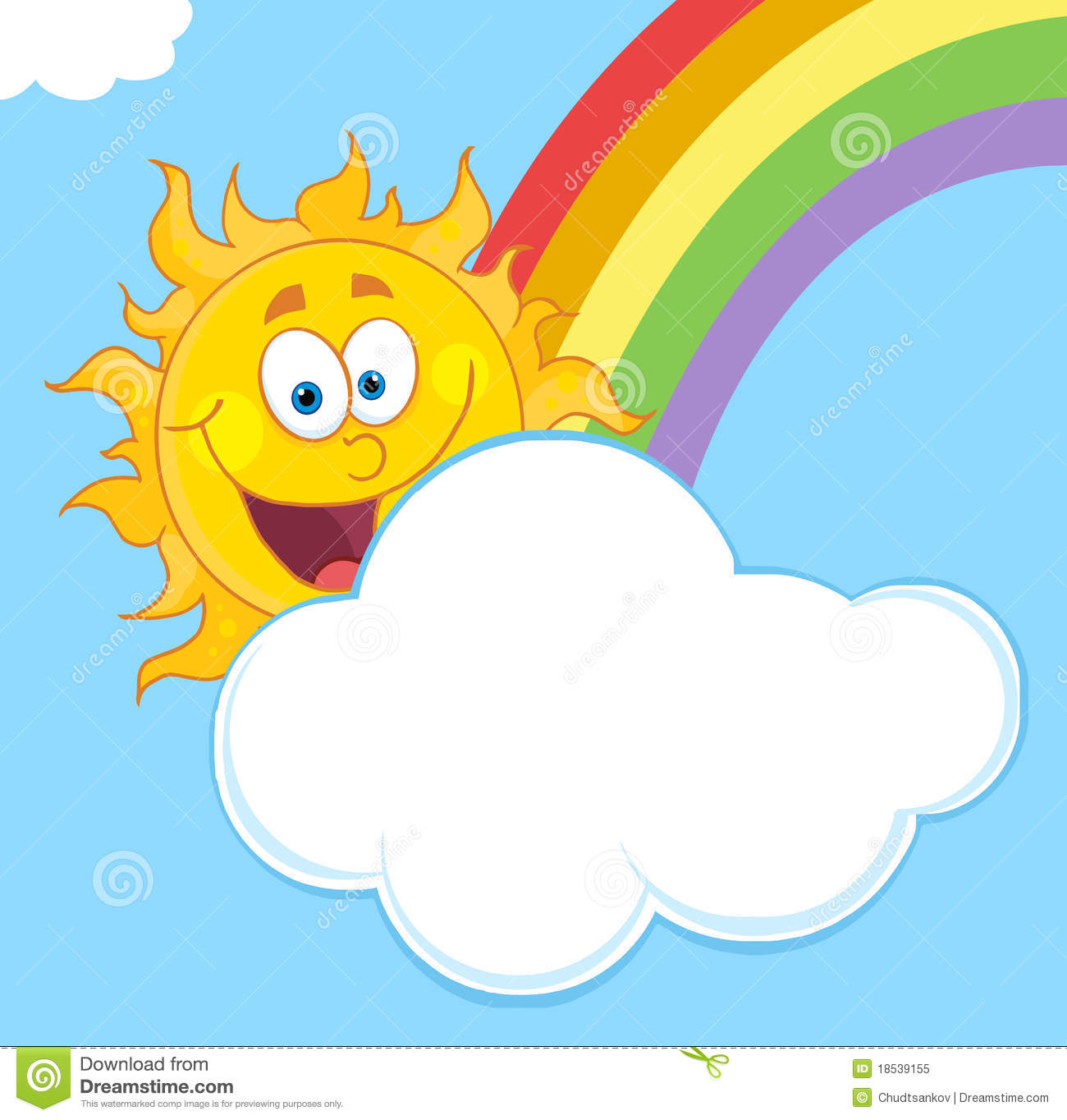 Happy Sun With A Cloud And Rainbow In A Blue Sky Royalty Free Stock ...