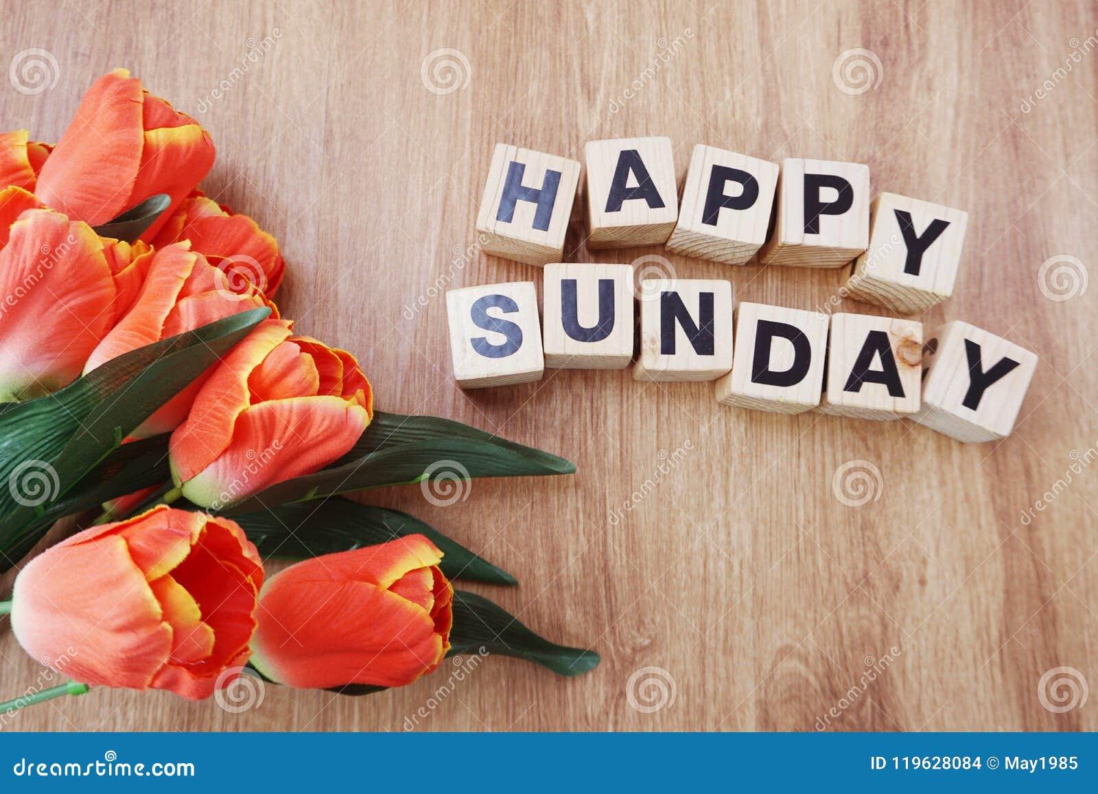 Happy Sunday On Wooden Background Stock Photo Image Of Design