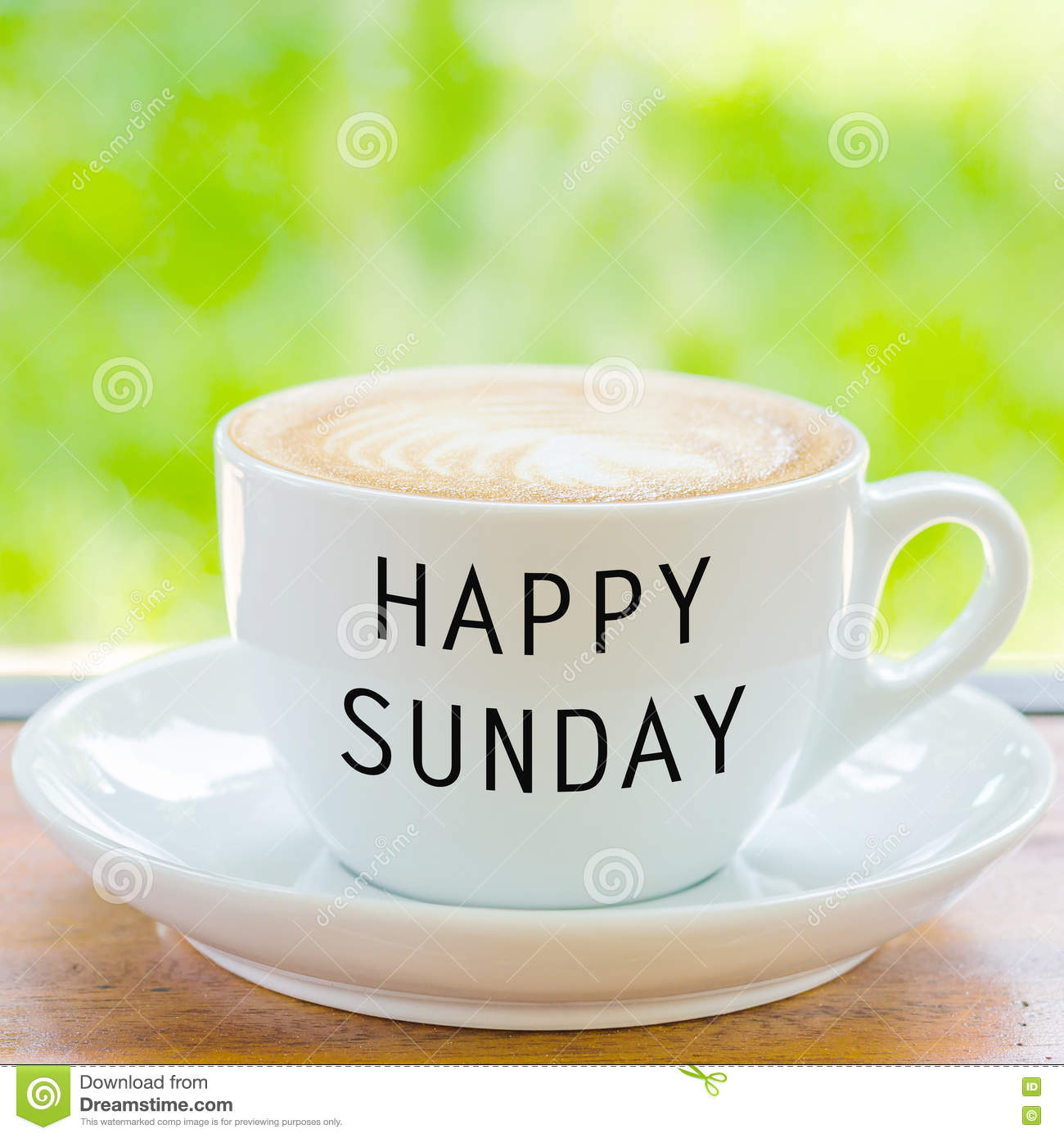 Happy Sunday On Coffee Cup Stock Photo Image Of Closeup 73937938