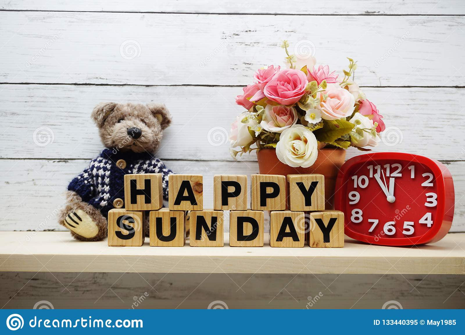 Happy Sunday Wooden Letter Alphabet With Decorate Item On Wooden