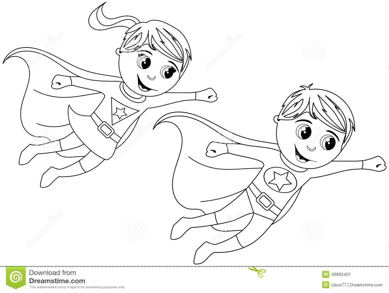 Happy Superhero Kid Kids Flying Isolated Coloring Page Stock Vector