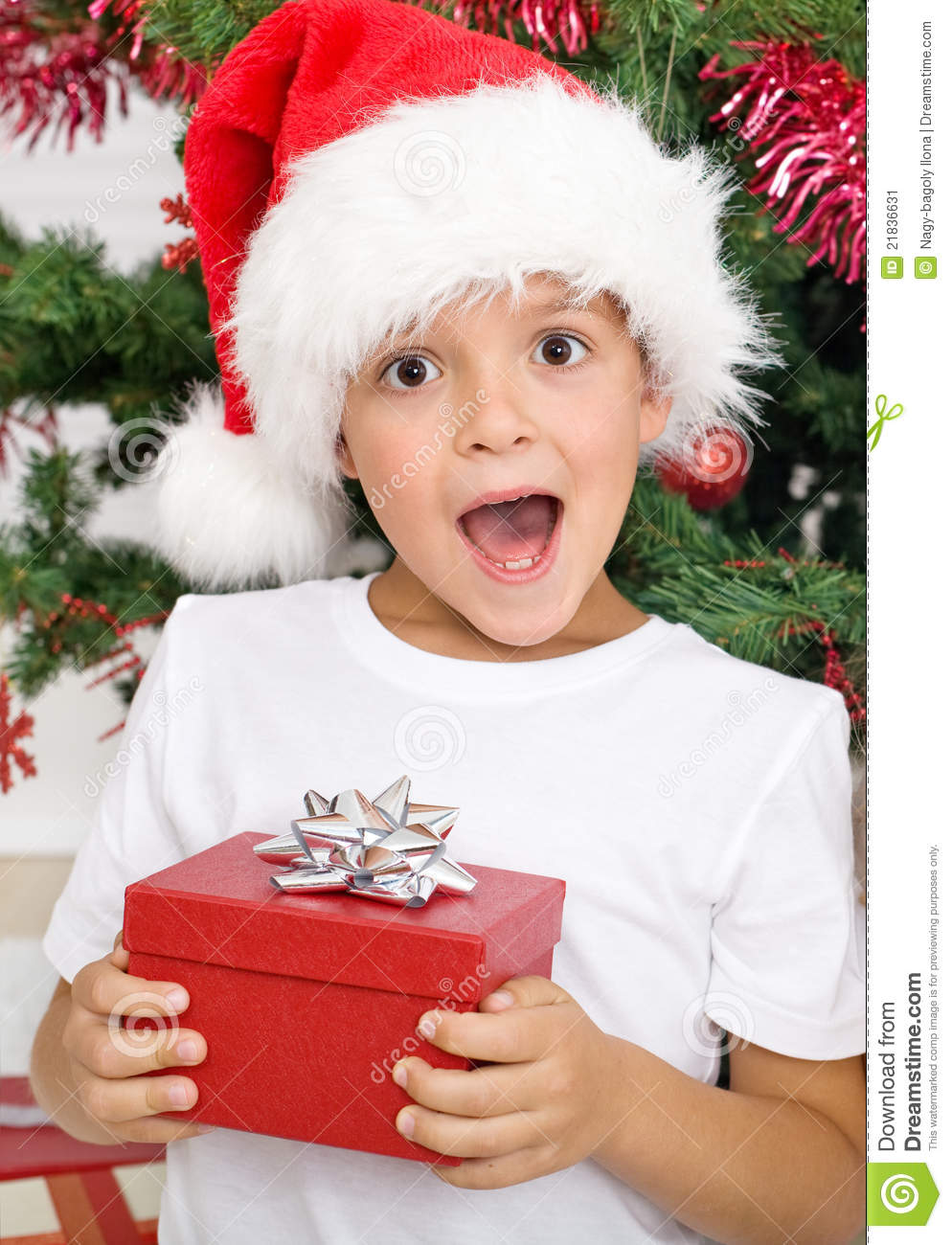 Happy Surprised Kid With Christmas Present Stock Image - Image of ...