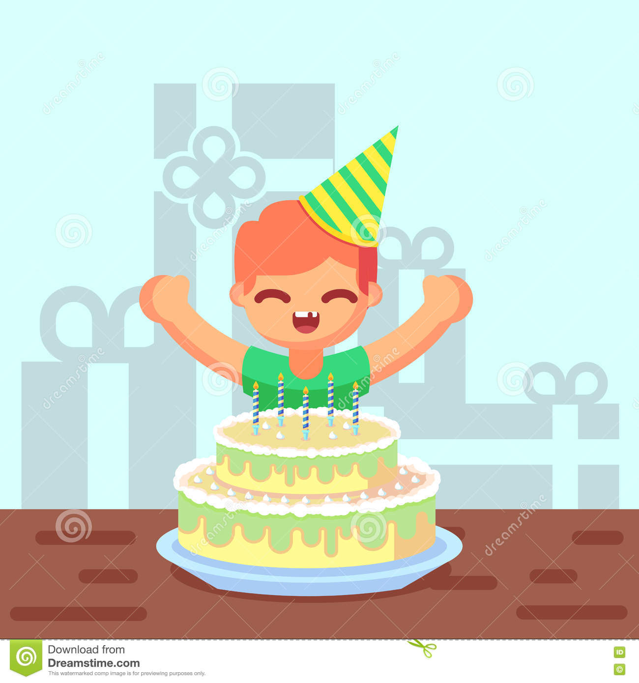 Happy Sweet Cute Cartoon Boy With Birthday Cake Stock