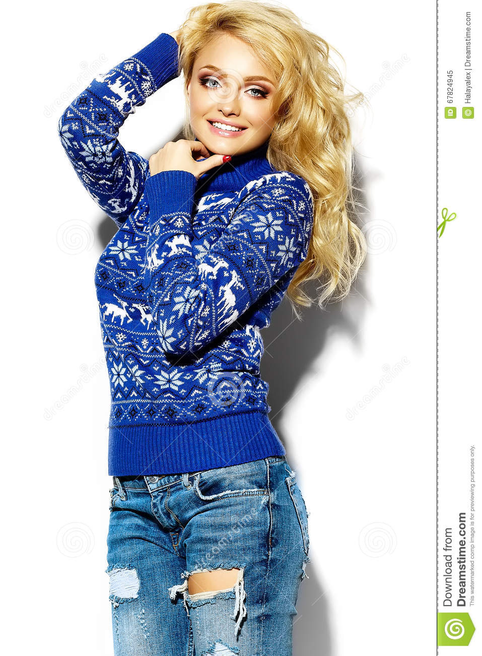 Happy Sweet Cute Smiling Blonde Woman In Blue Sweater Stock Image ...