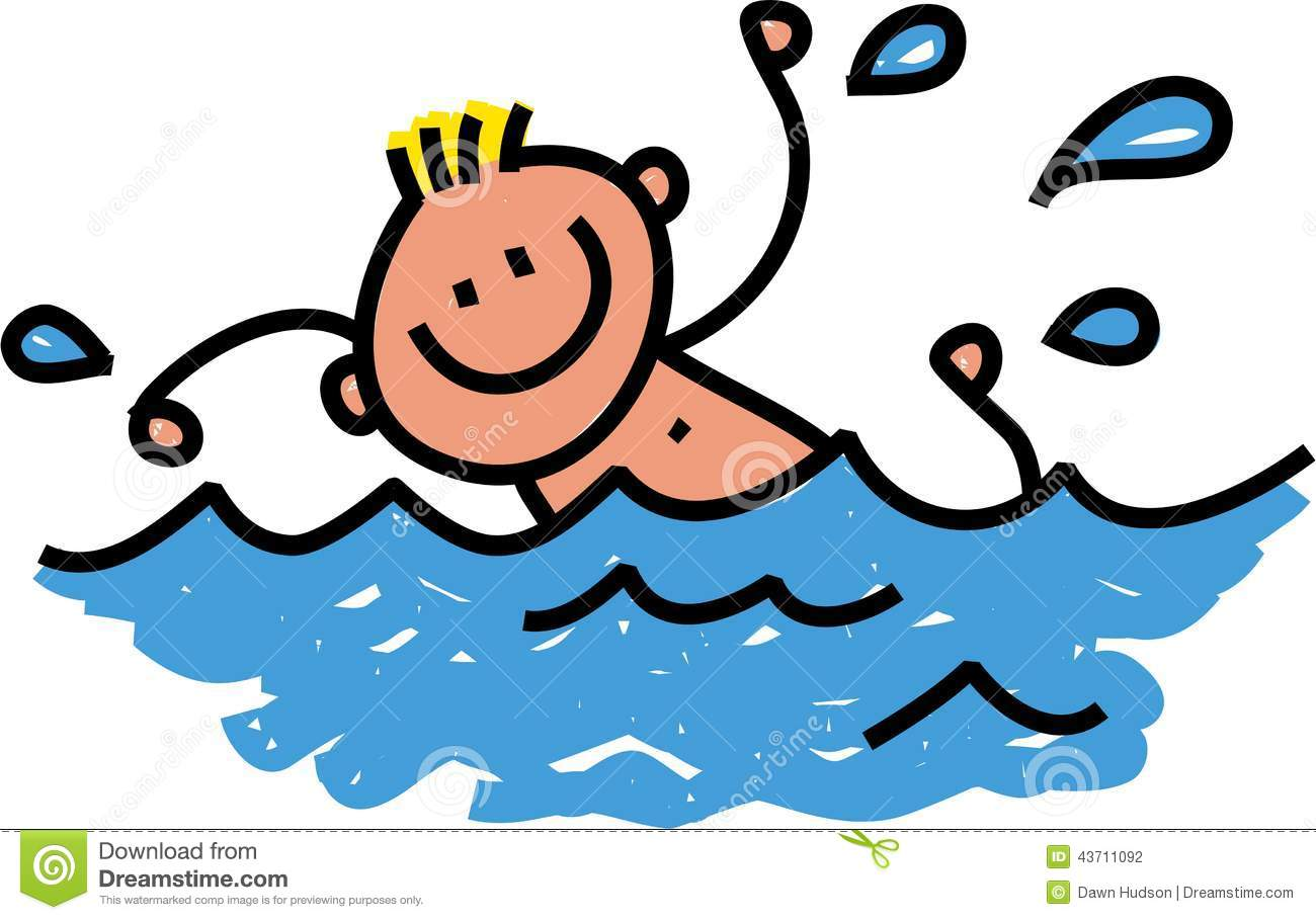 Happy Swimming Boy stock illustration. Illustration of ...