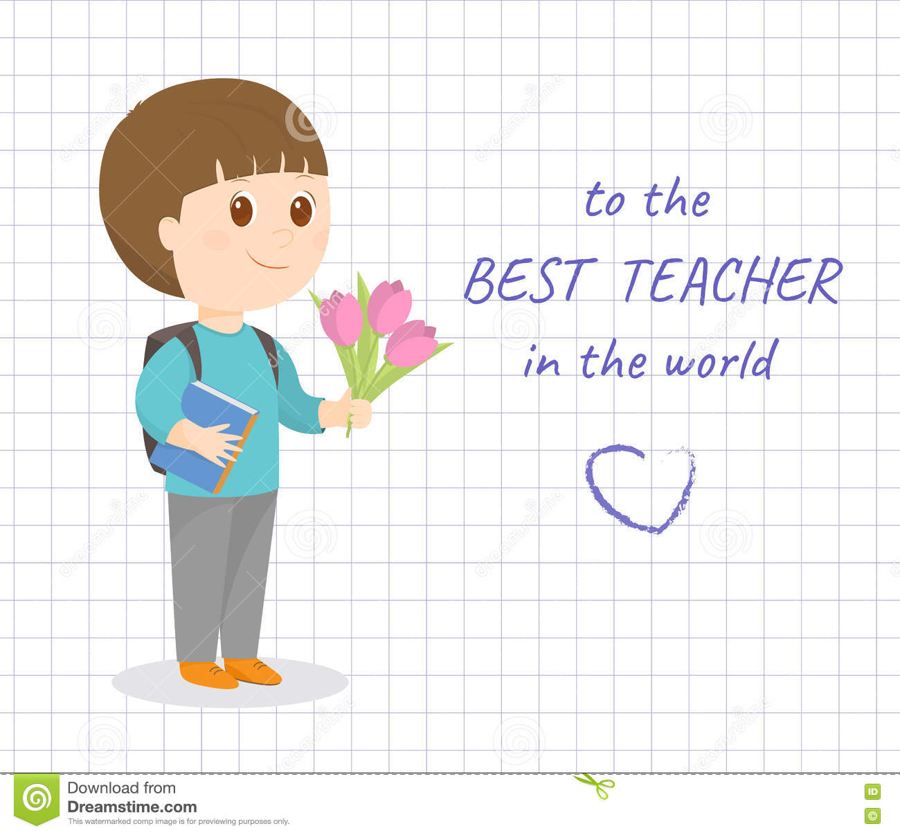 happy teacher day card stock vector illustration of young