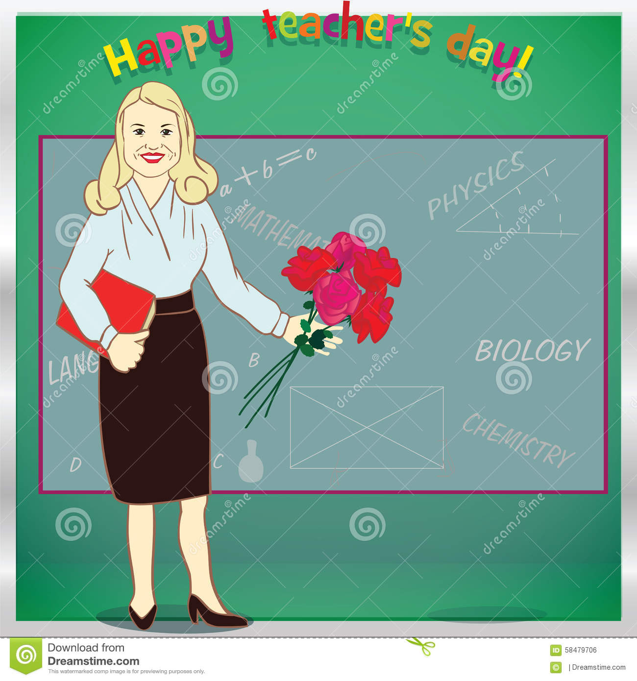 Happy Teacher Day. Template For Card. Illustration Stock