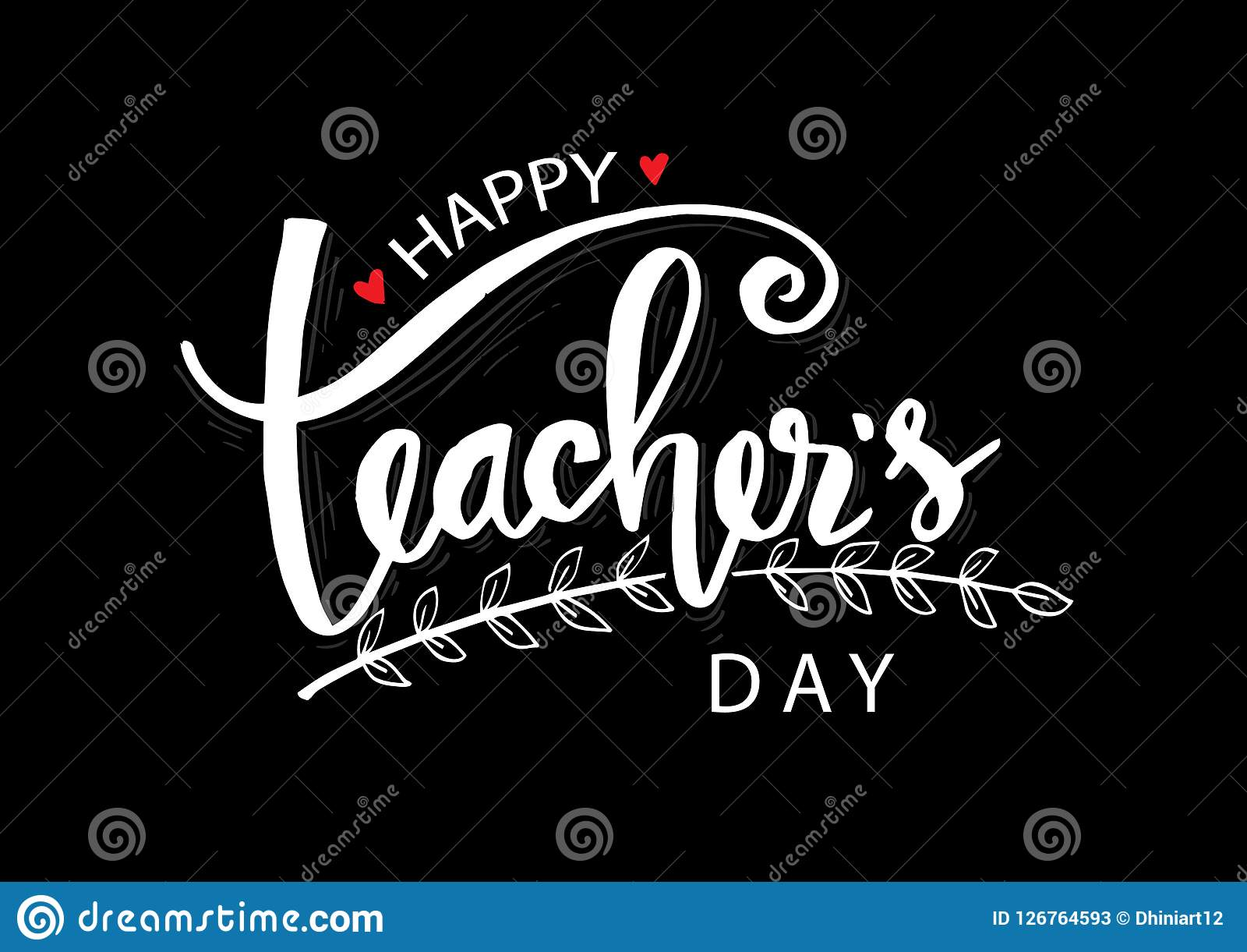 Happy teacher`s day. Hand lettering. For greeting card Stock Illustration