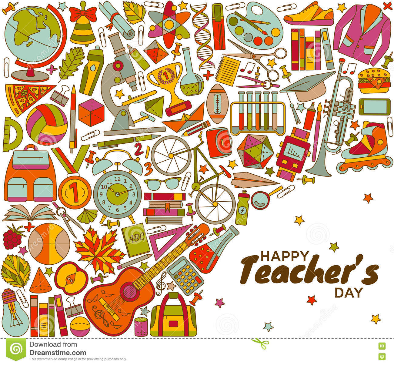 Happy Teachers Day Background Stock Vector Illustration Of Linear