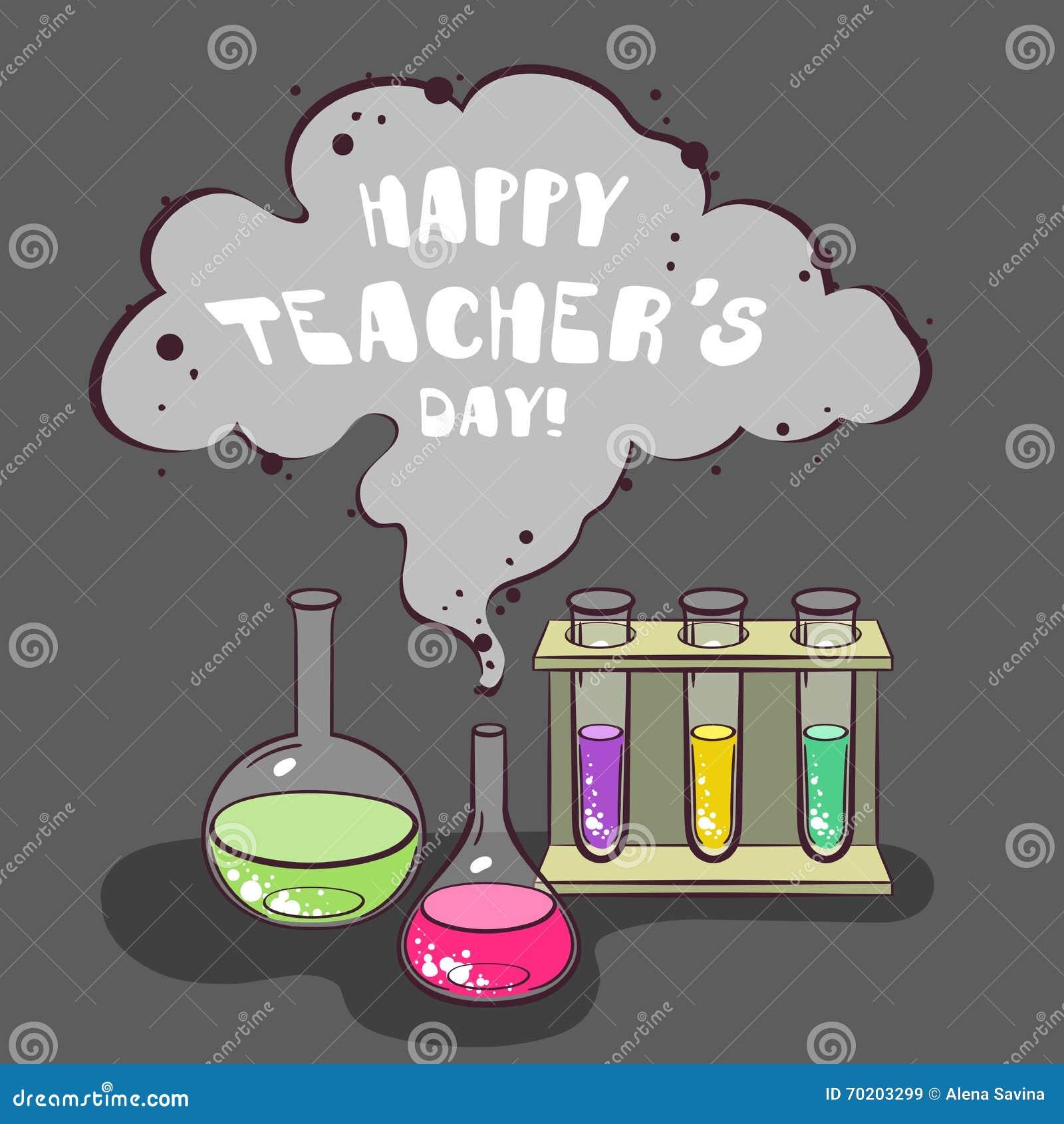 Happy Teachers Day Chemistry Stock Vector Illustration Of Design