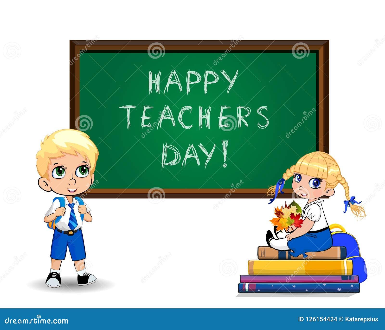 Happy Teachers Day Greeting Card With Cute Cartoon School Kids On