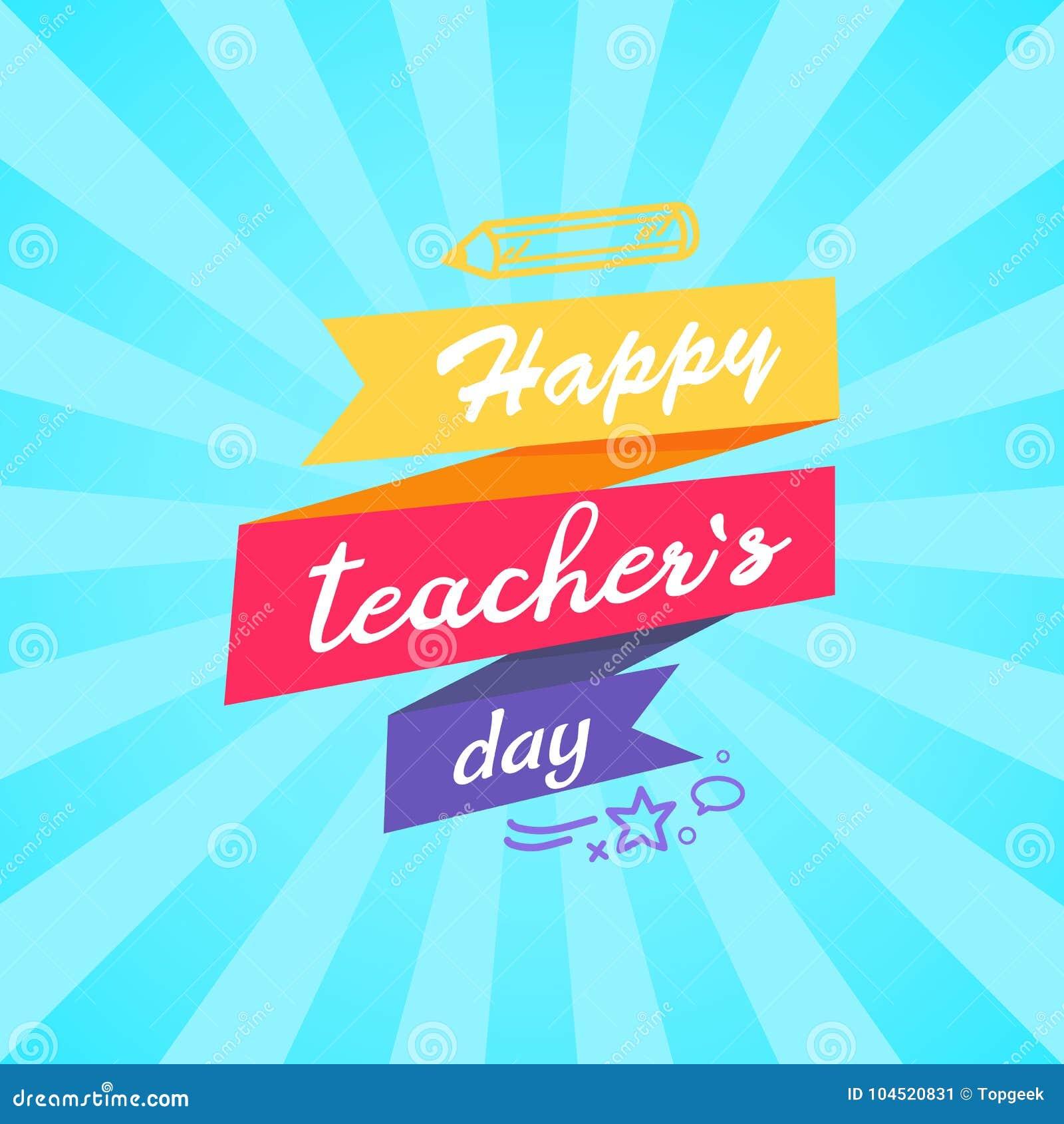 Happy Teachers Day Inscription Written on Ribbon