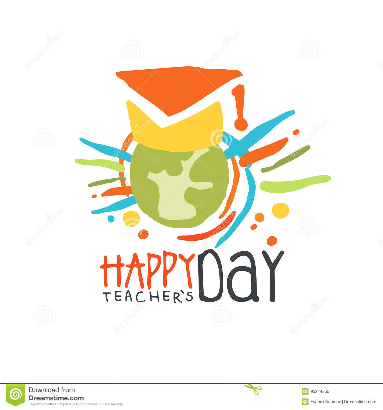 Happy Teachers Day label, back to school colorful hand drawn vector Illustration