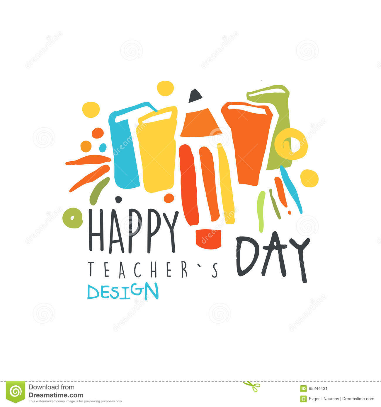 Happy Teachers Day label design, back to school logo graphic template colorful hand drawn vector Illustration