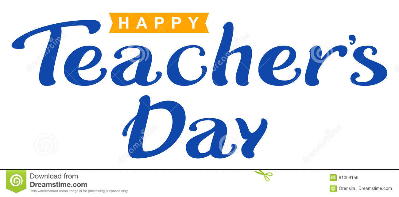 happy teachers day lettering text for greeting card stock