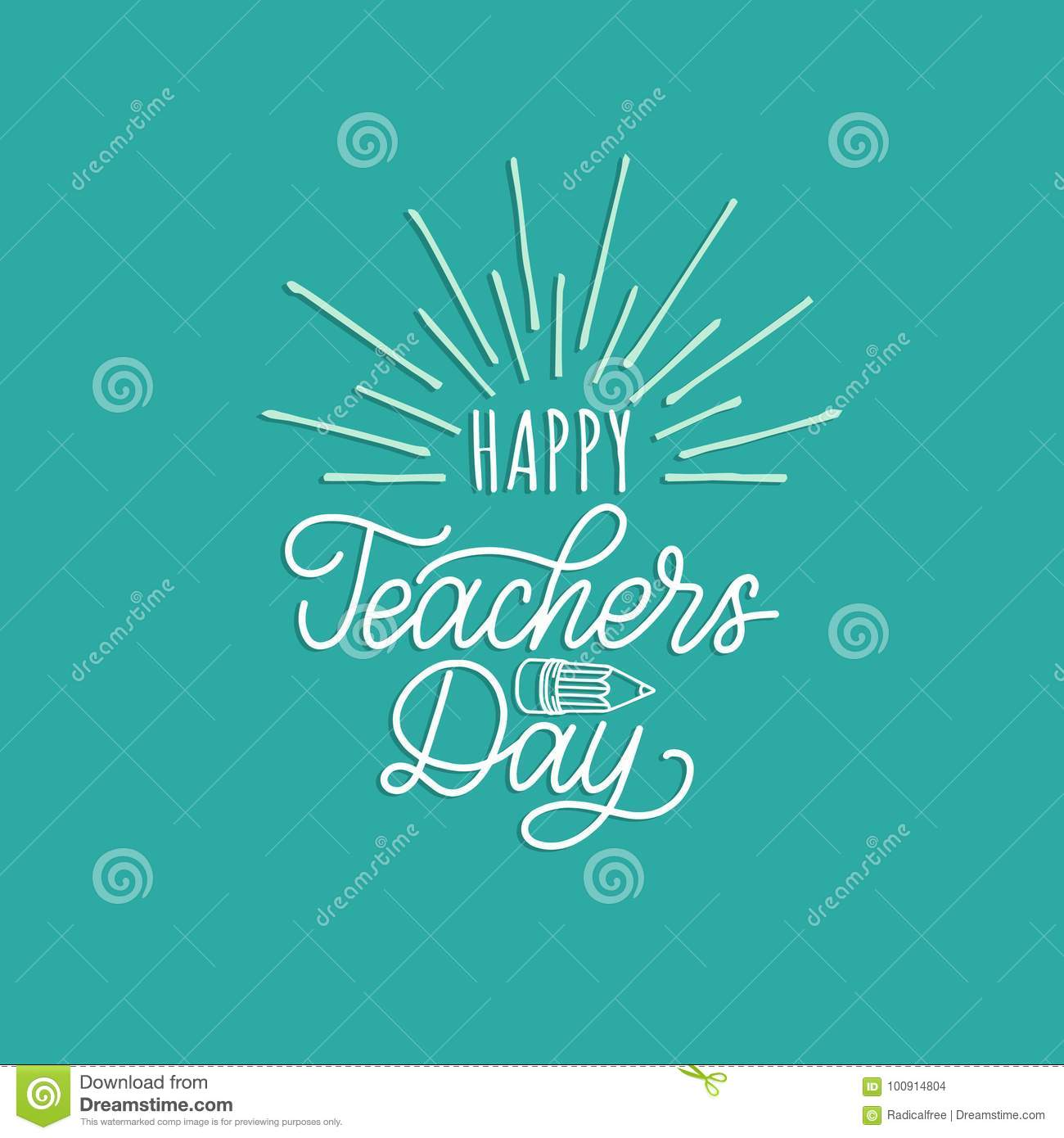 Happy Teachers Day poster, card. Vector hand lettering on white background.