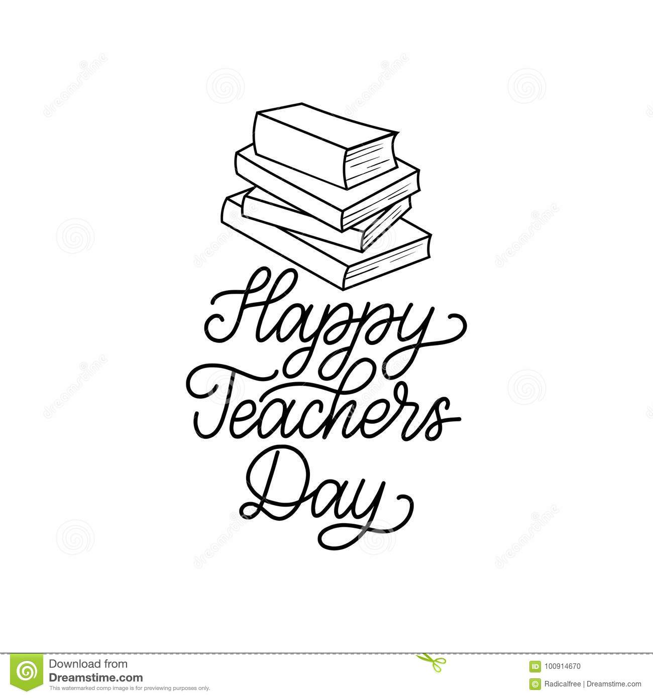 Happy Teachers Day Poster, Card. Vector Hand Lettering On White