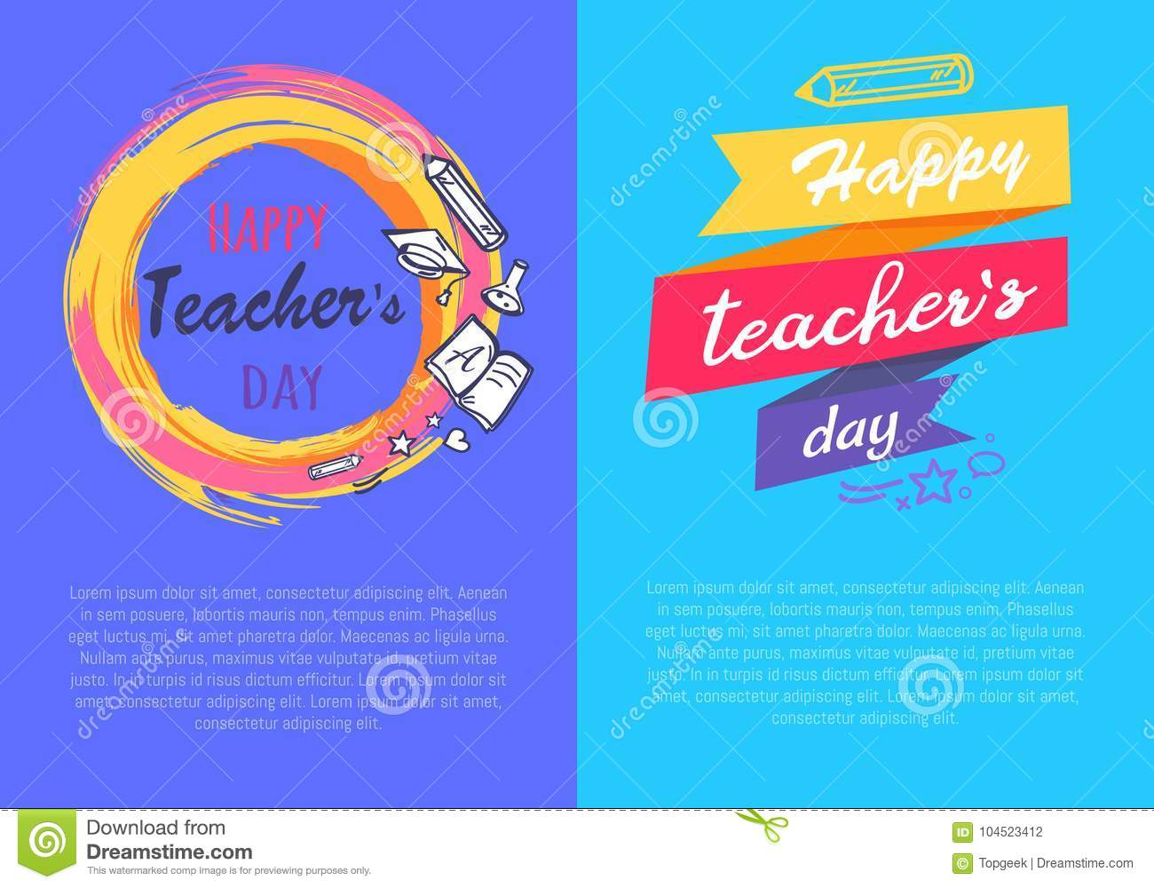 Happy Teachers Day Set of Two Vector Illustration