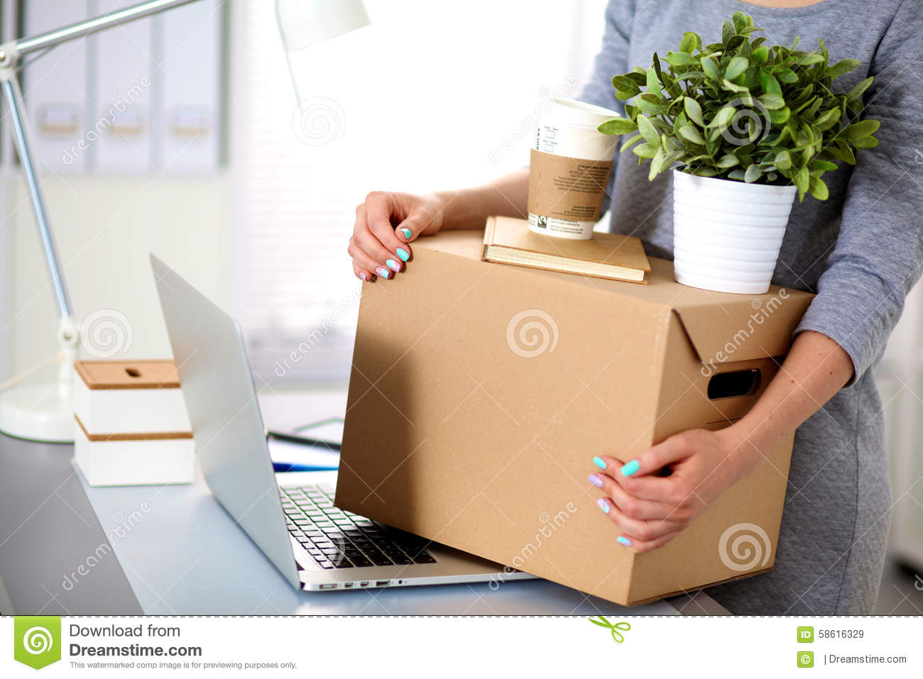 Happy Team Of Businesspeople Moving Office Stock Photo ...