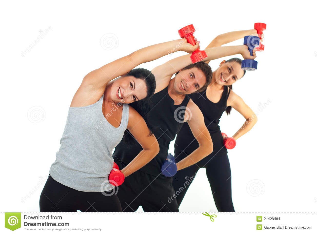 Happy team of three people workout with dumbbell and stretching.