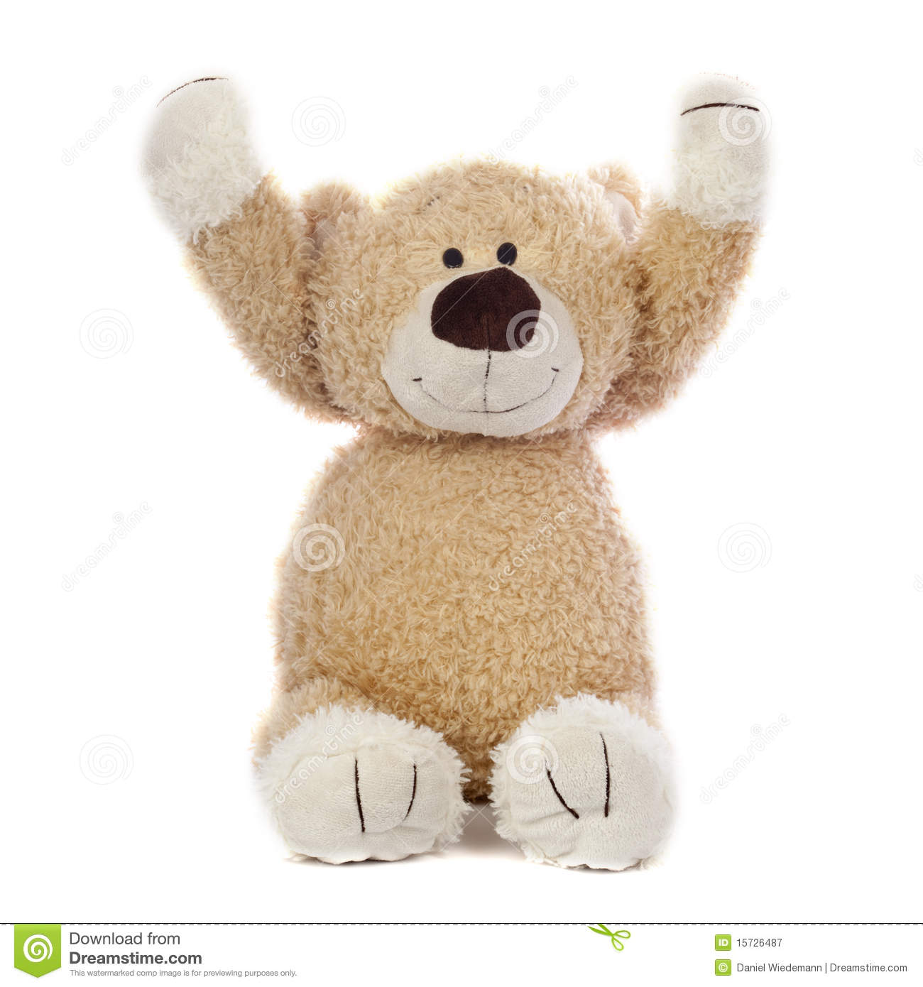 An adorable teddy bear that is happy. Isolated on a white background.