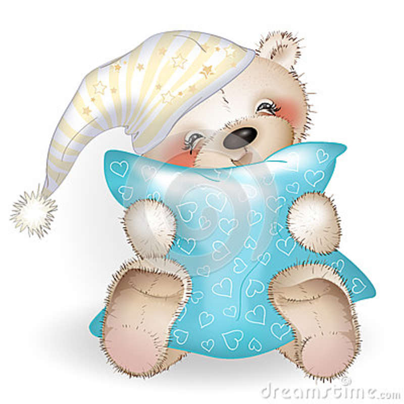 Happy Teddy Bear Hugging A Pillow 6 Stock Vector Image