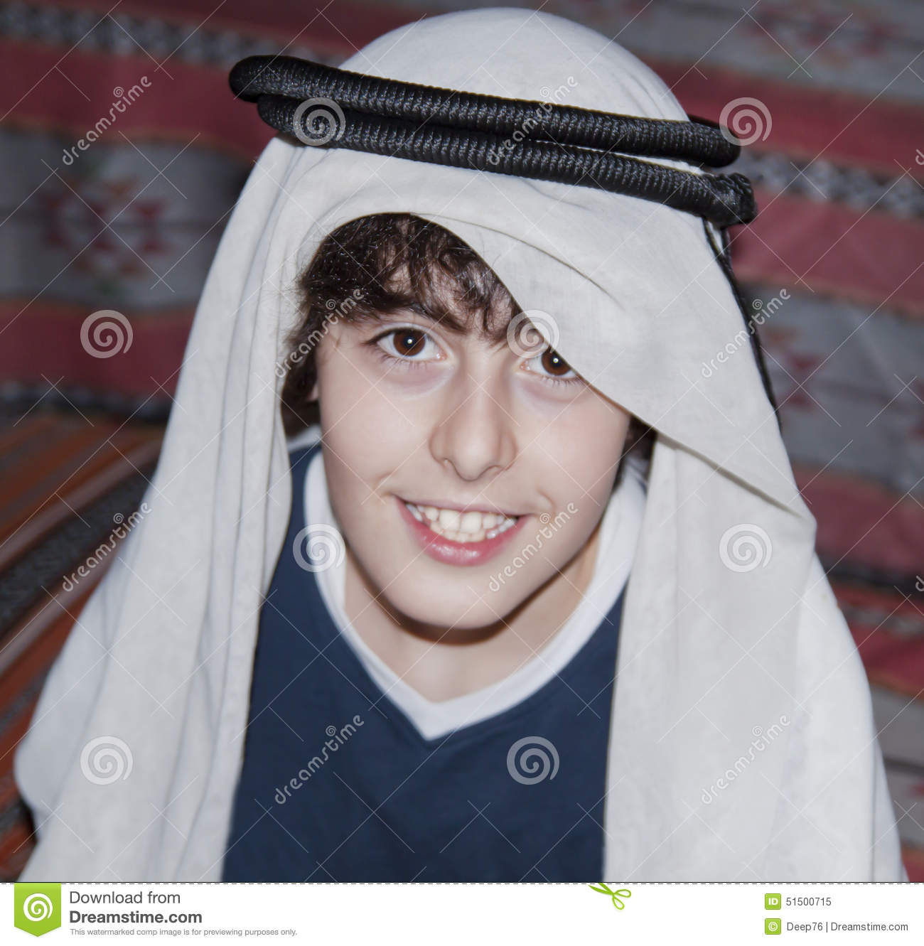 Happy Teen With Arabic Clothes Stock Image - Image of