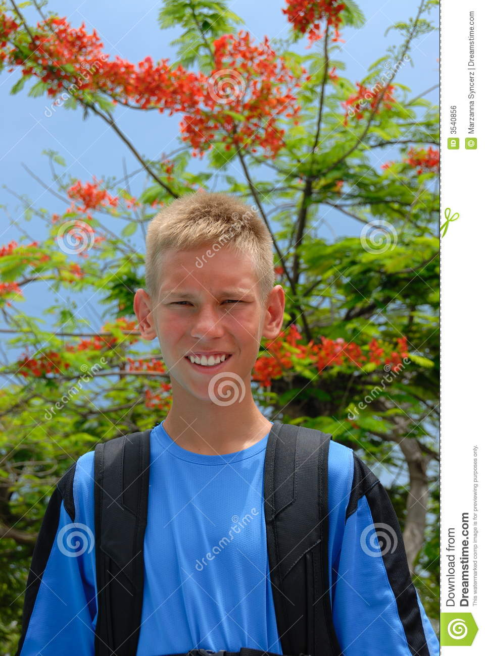 Happy Teen By Crumbling Wall Stock Image: Happy Teen Boy In Park Royalty Free Stock Image
