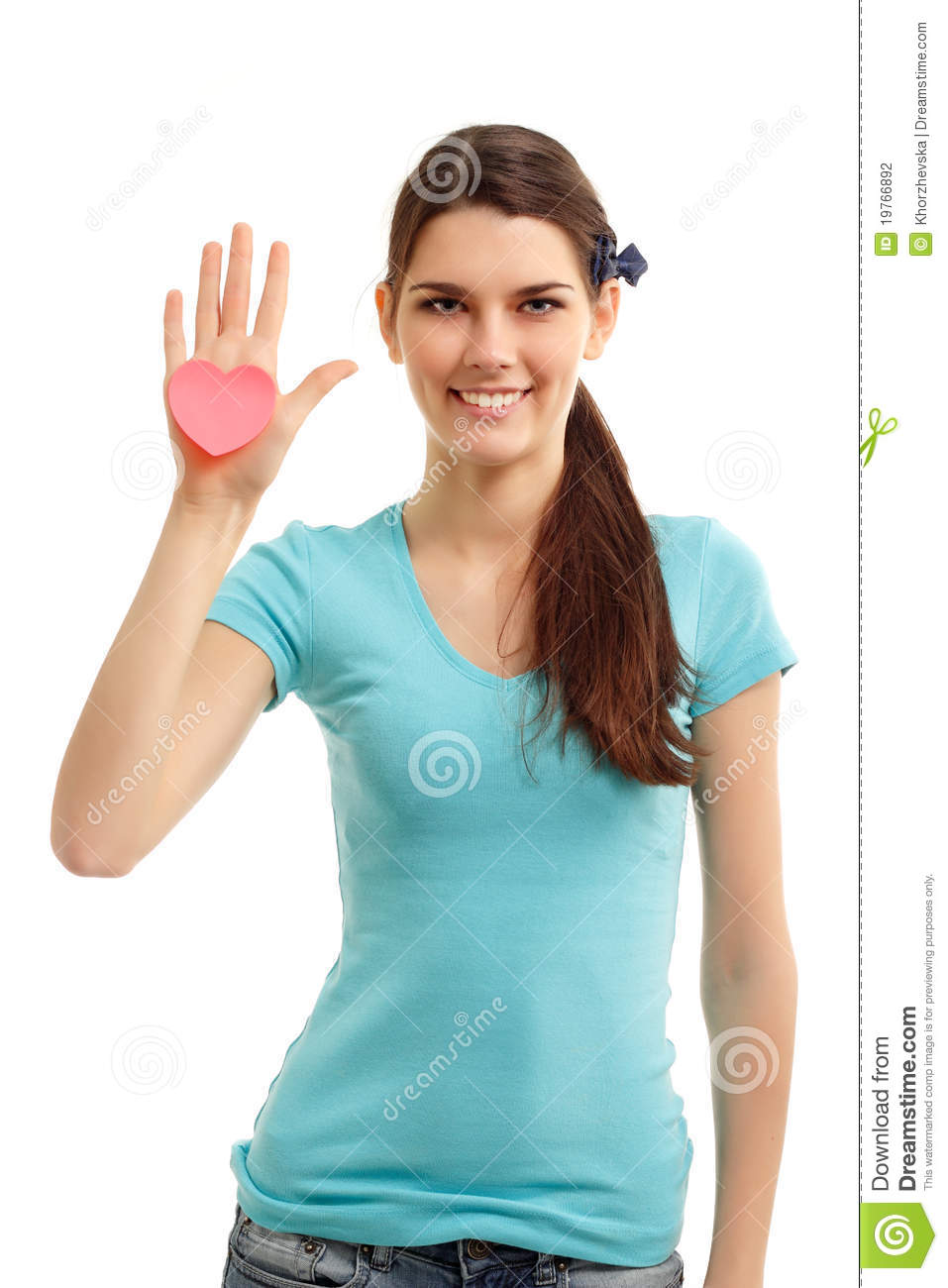 Happy Teen By Crumbling Wall Stock Image: Happy Teen Girl Holding In Hand Heart Stock Photography