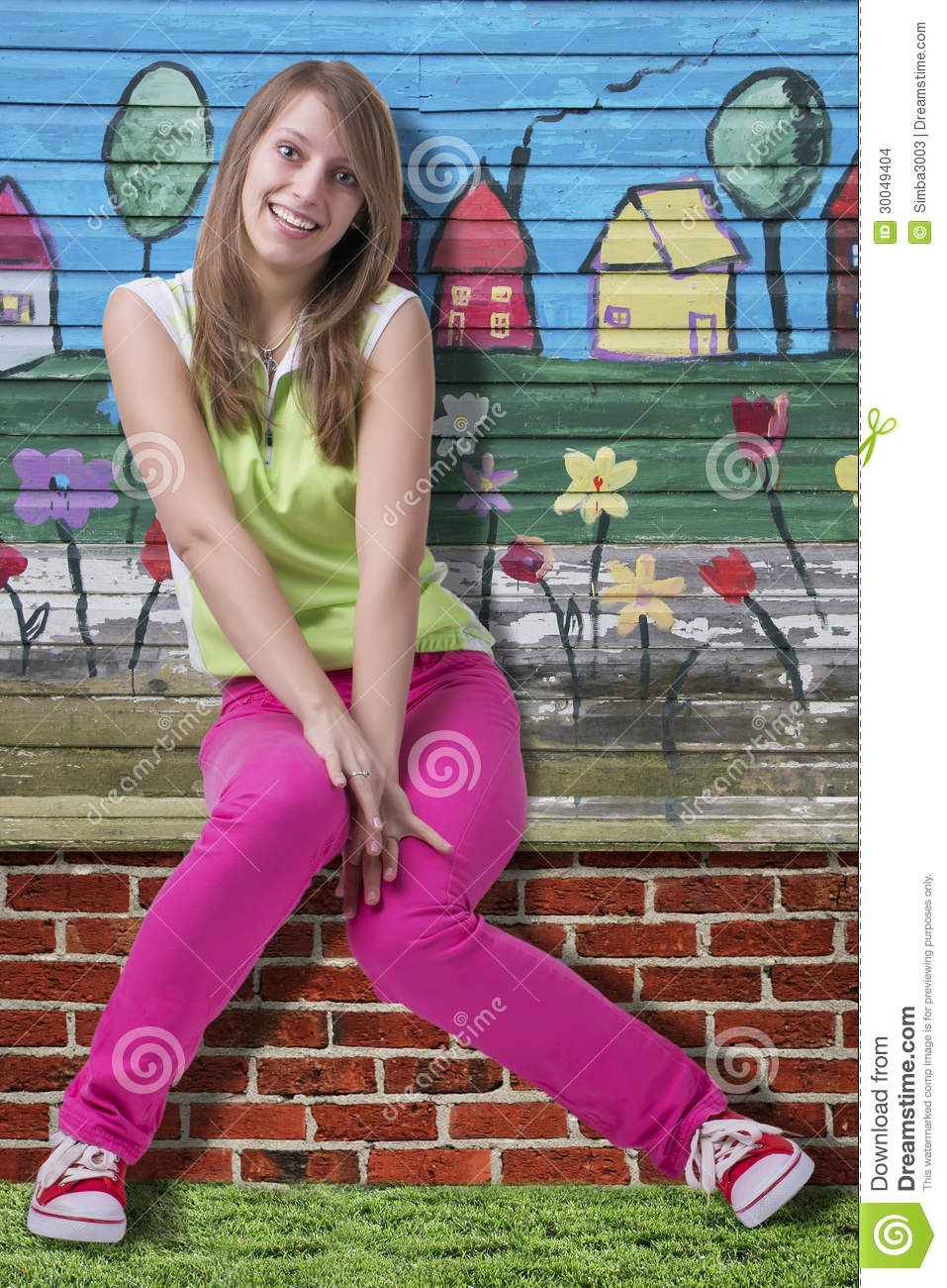 Colorful Teen Stock Image Image Of Lipstick Portrait: Springtime Happy Smiling Girl Over Colorful Wall Stock