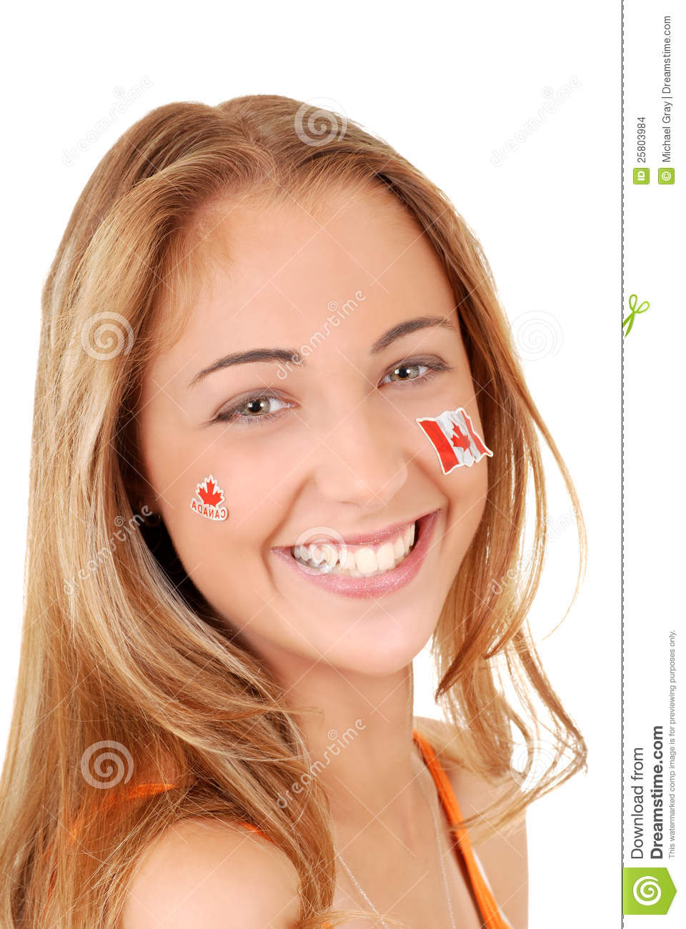 Happy Teen By Crumbling Wall Stock Image: Happy Teen Girl Wearing Canada Day Stickers Stock Images