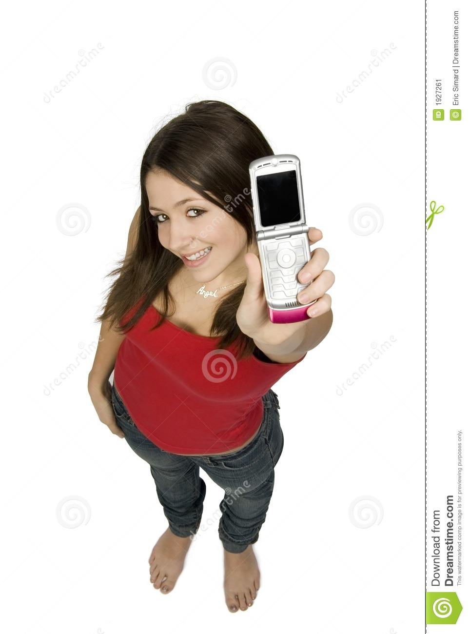 Happy Teen By Crumbling Wall Stock Image: Happy Teen With Phone Stock Image