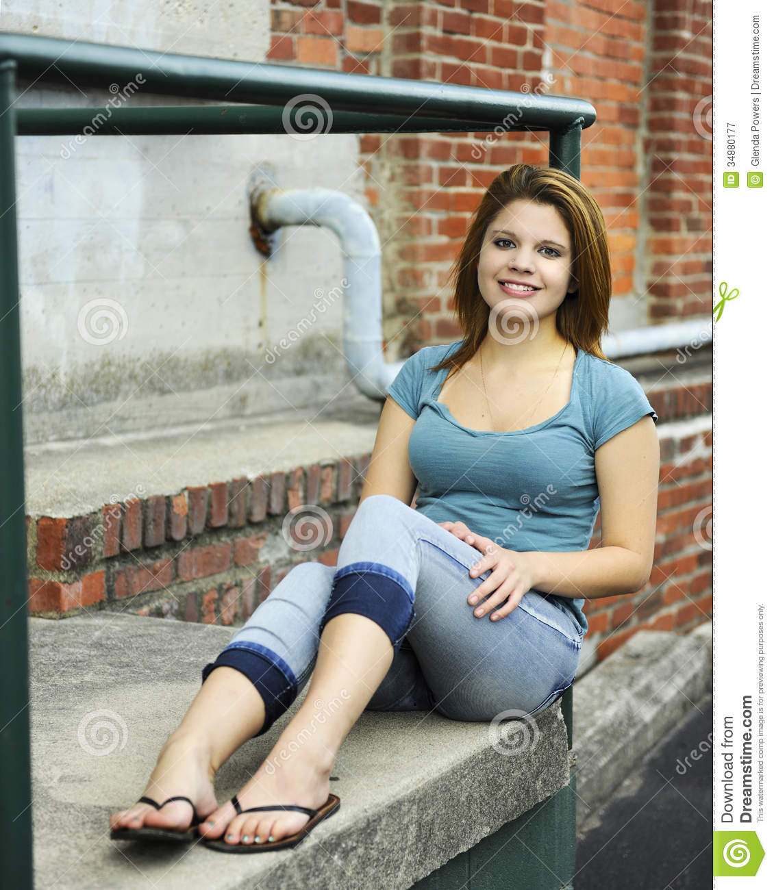 Black Sandals Happy Teen On The Stoop Royalty Free Stock Photography