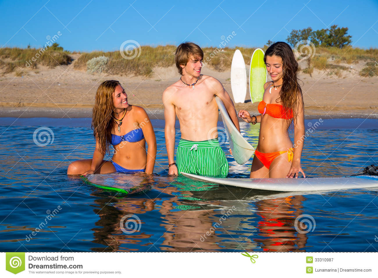Happy Teen Surfers Talking On Beach Shore Royalty Free ...: http://www.dreamstime.com/royalty-free-stock-photography-happy-teen-surfers-talking-beach-shore-beautiful-smiling-image33310987