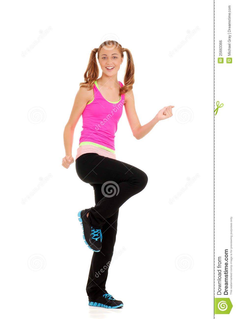 Happy Teen By Crumbling Wall Stock Image: Happy Teen Workout Zumba Fitness Royalty Free Stock Image