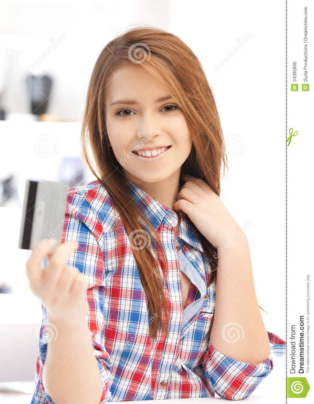 Happy Teenage Girl With Credit Card Royalty Free Stock