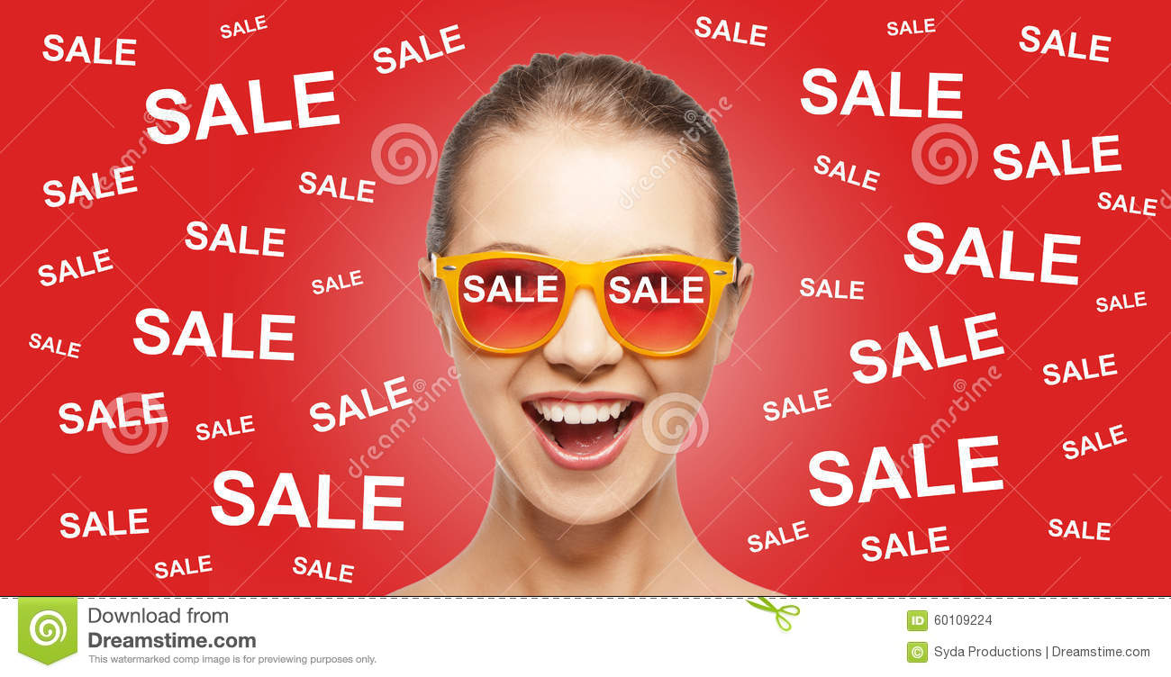 happy teenage girl in shades with sale signs stock photo image of