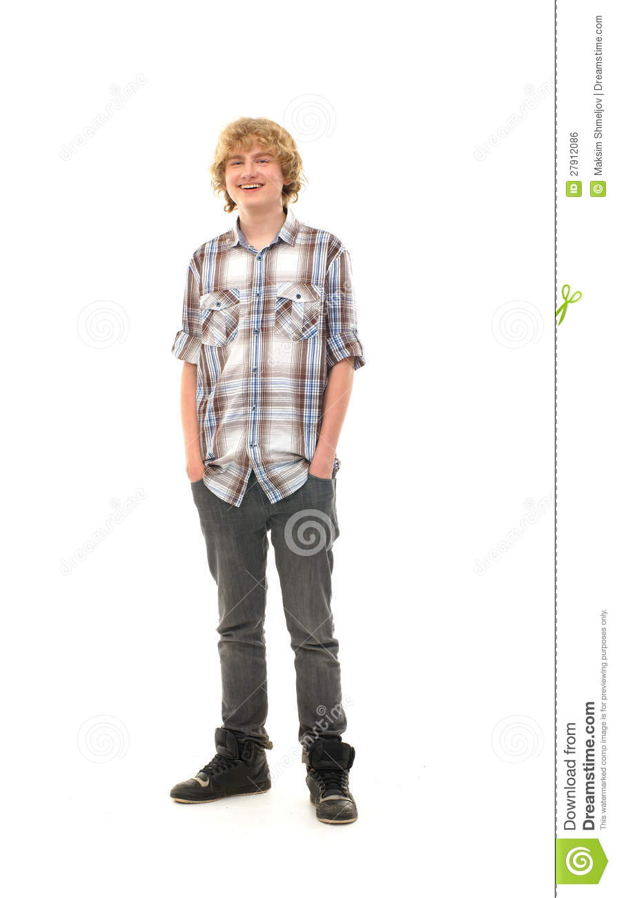 a happy posing in modern clothes royalty free